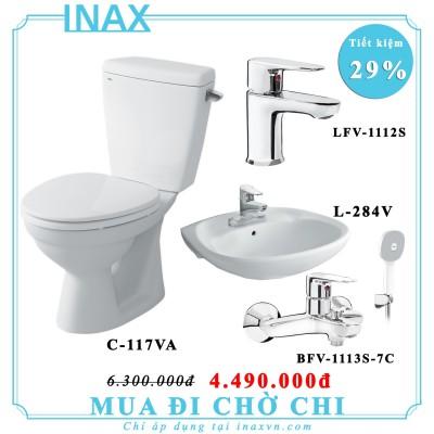 Khuyến mãi bồn cầu inax C-117VA + L284V + LFV1112S + BFV1113S-7C