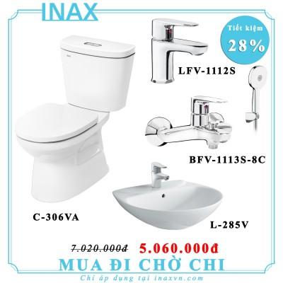 Combo bồn cầu inax C306VA + L285V + LFV1112S + 1113S_8C